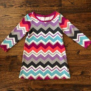 Gymboree Multi Colored Chevron Dress sz 3T EUC